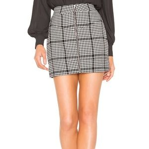 NBD x Naven Moto Skirt in Black White Plaid